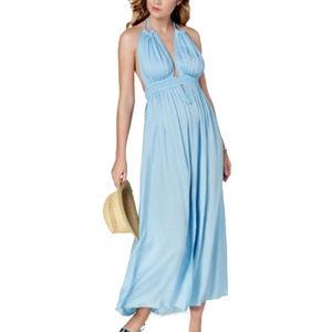 Raviya Plunge Halter Tassel-Tie Maxi Dress CoverUp